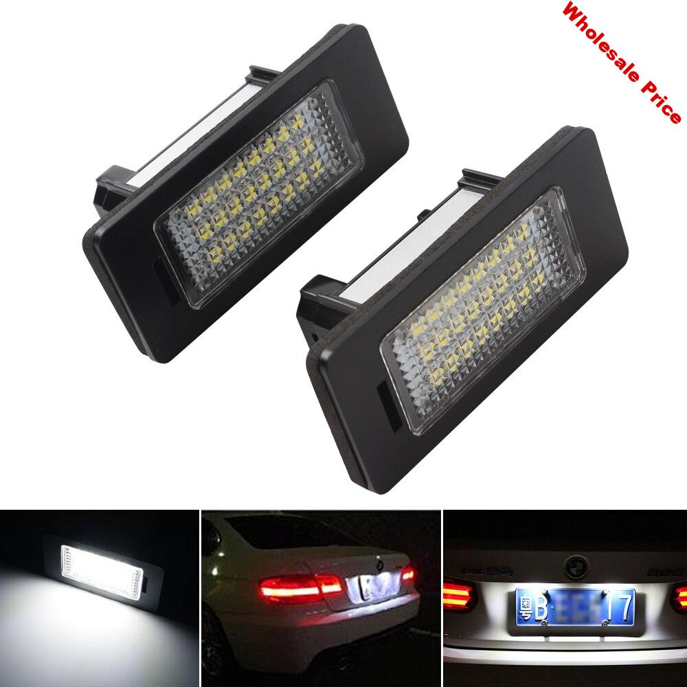 1 Pair LED Car License Plate Light for BMW X1 X5 X6 E39 E60 E61 E70 E71 E81 E82 E84 E90 E91 E92 E93 LED Auto Number Plate Lamps
