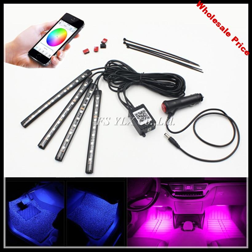 FSYLX Smartphone control RGBW LED Interior Footwell Lights Strips RGB LED Atmosphere interior light strips for AUDI A3 A4 A6 Q3