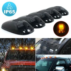 5pcs Smoked Lens 3000K Amber yellow LED Cab Roof Top Marker Running Lights For Truck SUV For Chevy Ford Dodge GMC