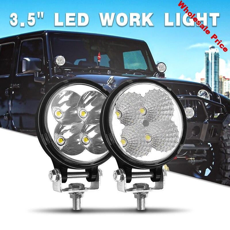 4 Inch 3 inch Car LED Work Light Round Wide flood beam spot 6000K white For Auxiliary 4x4 off road UAZ SUV Truck ATV Boat kamaz