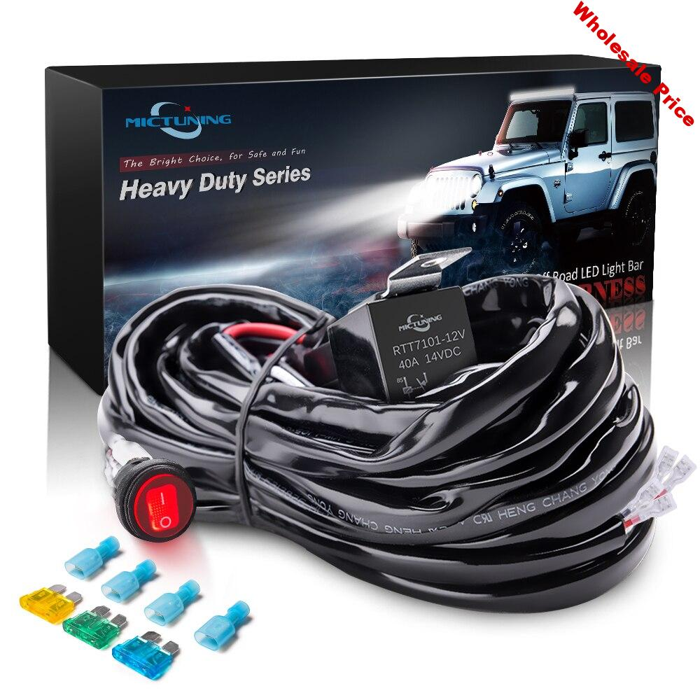 MICTUNING Wire Harness Led Light Bar Work Light Universal Relay Harness Wire Kit Switch Control Switch 1 Wire Connect 2 Lights