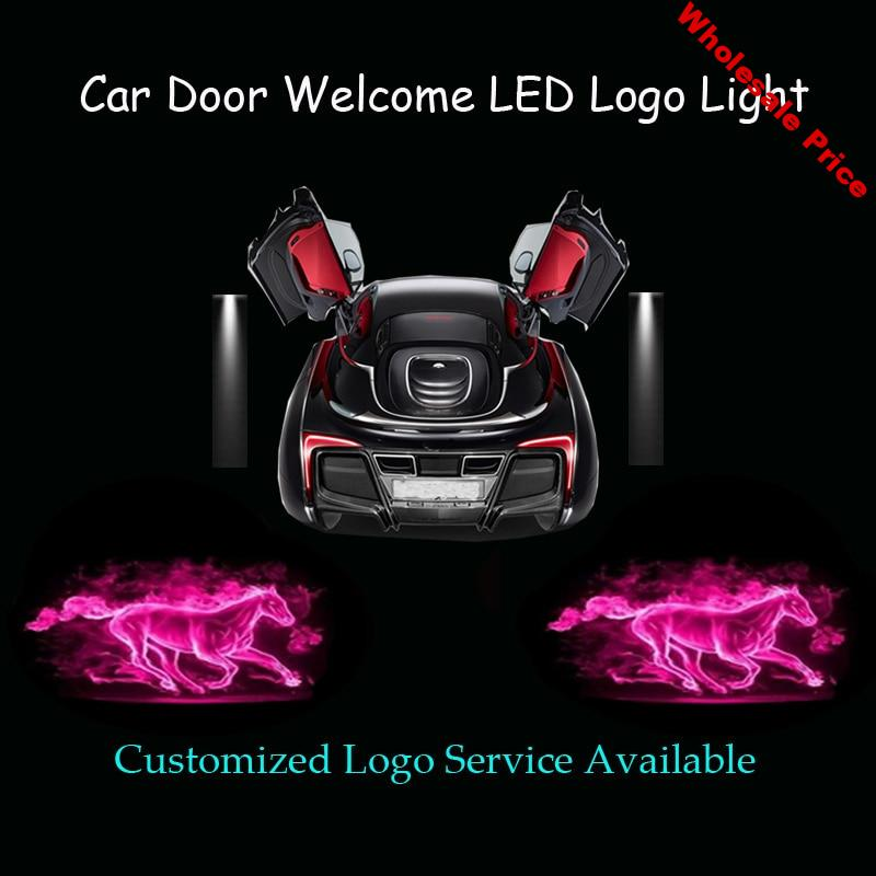 2x Purple Flaming Horse Car Door Welcome Ghost Shadow Spotlight Laser Projector Puddle LED Logo Light for Ford Mustang