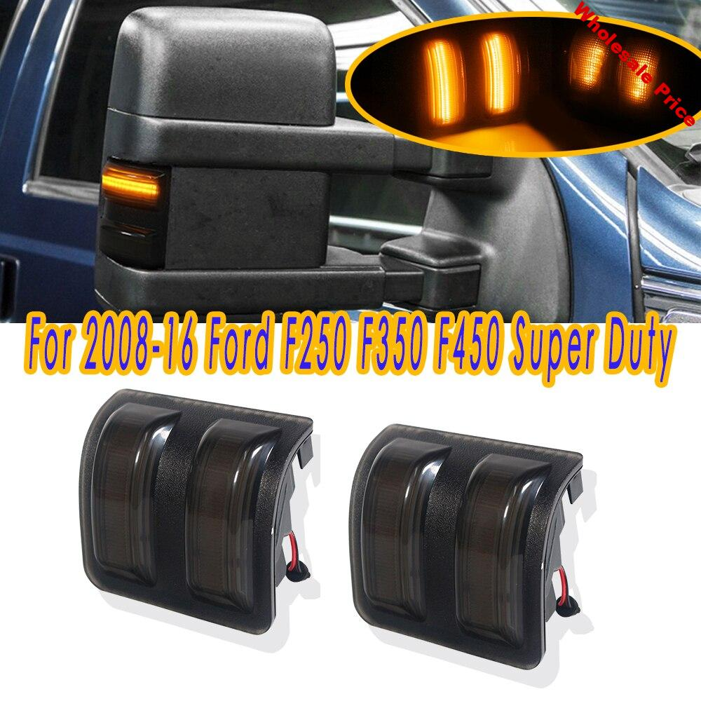 COOYIDOM 2PCS For Ford  2008-2016 F250 F350 F45 Super Duty Smoked Lens Amber LED Side Mirror Marker Lamps  Turn signal light