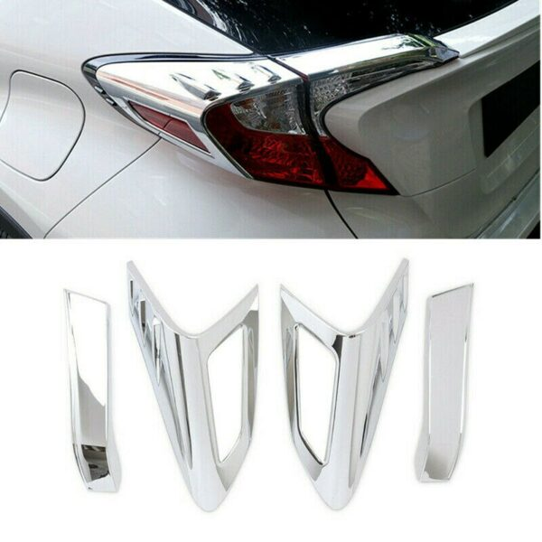 4Pcs Car Silver Rear Tail Light Lamp Eyebrow Cover Trim for Toyota C-HR CHR 2016-2018