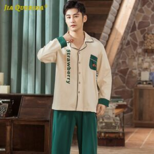 Turn Down Collar Soft Printing Front Pocket Fashion Style Long Sleeve Long Pants Sleepwear Pajamas for Man Spring Autumn Green