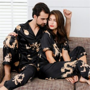 Pajama set couple thin sleepwear set Chinese style short-sleeved rayon men's home service dragon pattern sexy pijama men new