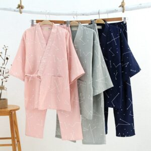 Woven Cotton Japanese Pajamas V-Neck Kimono Pijama Men Pijamas Hombre Couples Spring Summer Lounge Casual Wear Long Pants Set