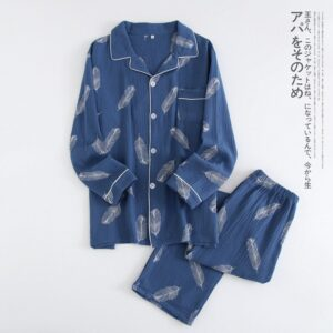 Men'S Spring And Autumn 100% Cotton Double Gauze Long Sleeve Set Summer Thin Cotton Crepe Lounge Negligee Pajamas	пижама женская