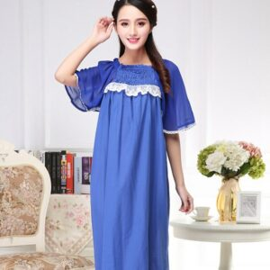 Cotton dress summer new female royal blue Sleepwear embroidery long travel vacation loose night skirt short sleeve Nightgown