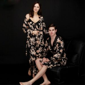 Satin Silk Couple Pajamas Ladies Sleepwear Summer Three-piece Suit Long-sleeved Men's Nightgown Bathrobes Home Clothing M-3XL
