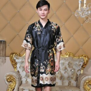 Novelty Black Male Silk Kimono Bath Robe Gown Chinese Men Rayon Nightwear Unisex V-Neck Sleepwear Pajama Pijamas