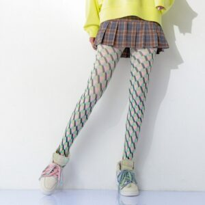 Color Pop Plaid Printed Women Pantyhose free shipping