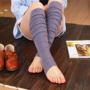 Japanese Style Vertical Stripes Stockings High Knees Cotton Step Feet  Women Pure Color Stocking 3pair/lot