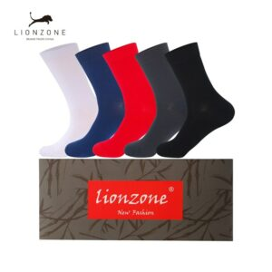 Mens Dress Socks For Business Clothing Thick Antibacterial Hygroscopic Breathable Bamboo Fiber Socks 5 Pairs/Lot With Gift Box