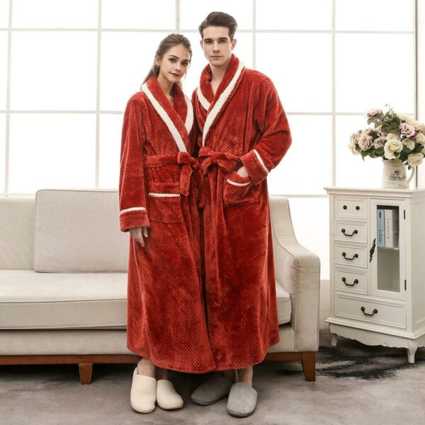 Women Men Couples Winter Thicken Flannel Kimono Bathrobe Open Front Contrast Striped Jacquard Nightgown Loose Belted Lengthened