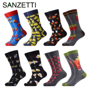 SANZETTI 8 Pairs/Newcomer Socks Happy Combed Cotton Interesting Trend Young Animal Fries Cheeseburger Gift Creative Party Socks