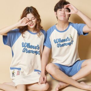 Couples Pajamas Sets Women Print Soft Cotton Carton Fashion Men Long Sleeve Sleepwear Suit Sexy Spring Home Couple Lounge Gift