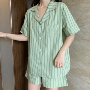 JULY'S SONG Cotton Women Pajamas Set Striped 2 Pieces Short Sleeves Pajamas Suit Sleepwear Cute Shorts for Female