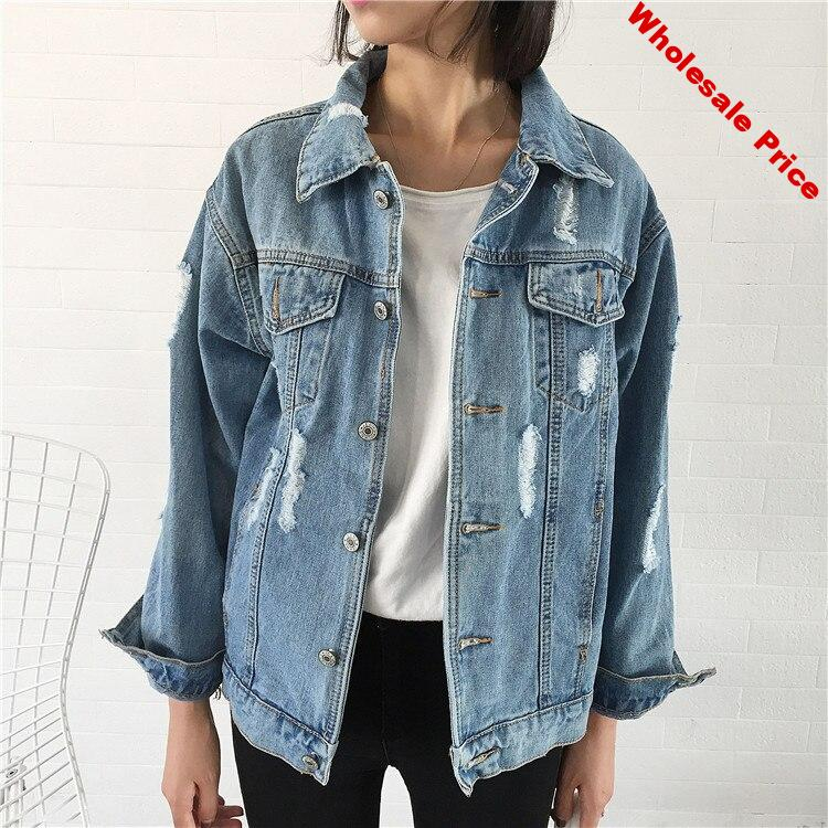 2019 Women Denim Jacket Women Spring Autumn Frayed Denim Jacket For Women Jeans Jacket Women Denim Coat loose fit casual style