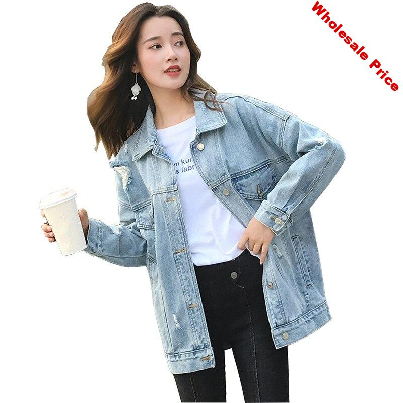 Spring autumn denim jacket women oversize jeans coat korean loose casual tops students embroidery jeans outerwear Plus size 5XL