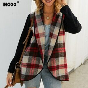 INGOO Autumn Patchwork Plaid Blazer Women Spring Fashion Casual Long Sleeve Suit Female Office Lady Open Stitch Blazers Work