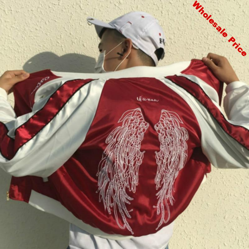 Chic Unisex Bomber Harajuku wings embroidered Satin baseball Jacket Autumn loose Couples flight suit Wings Zipper Coat Outwear