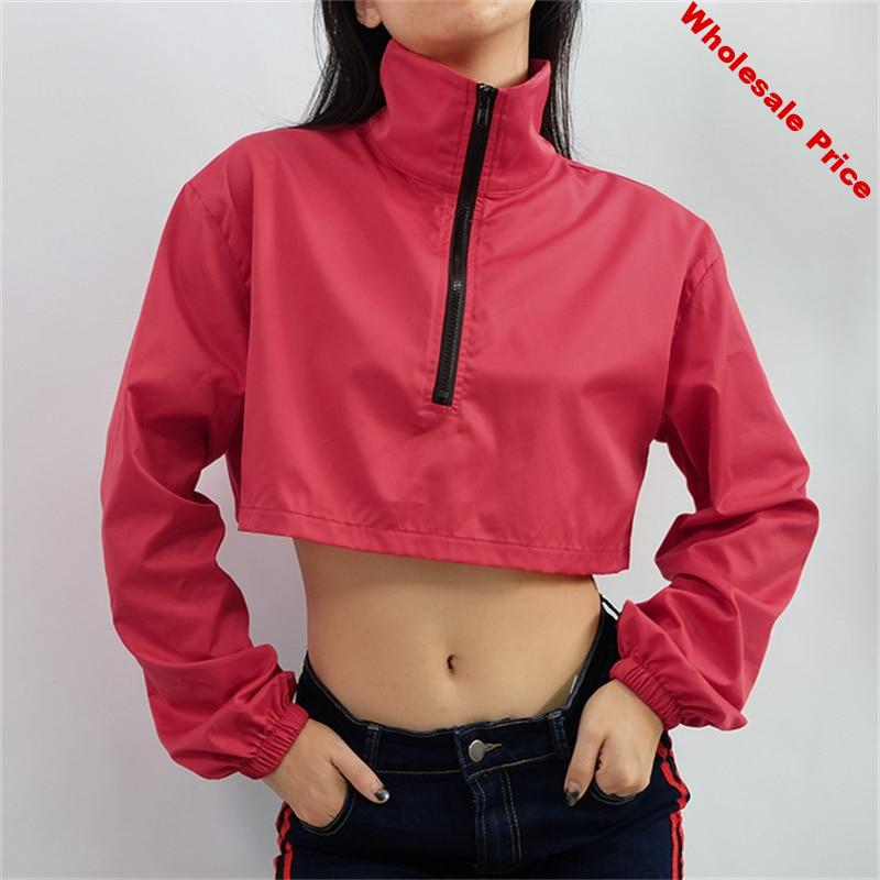 2019 Jacket Women Long Sleeve Crop Top With Zipper Woman Clothes Casual Jackets Mujer Sport Coats Red Cropped Jacket Plus Size