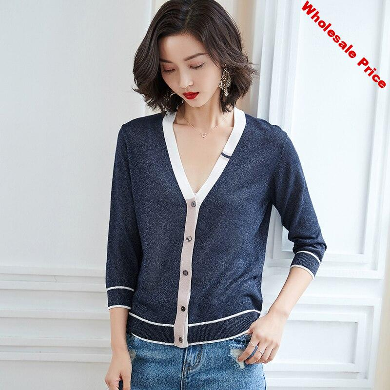 Short Knit Cardigan Contrast Color Stitching V-neck Ice Silk Sweater New Single-Breasted Thin Coat Casual Ladies Knit Cardigan