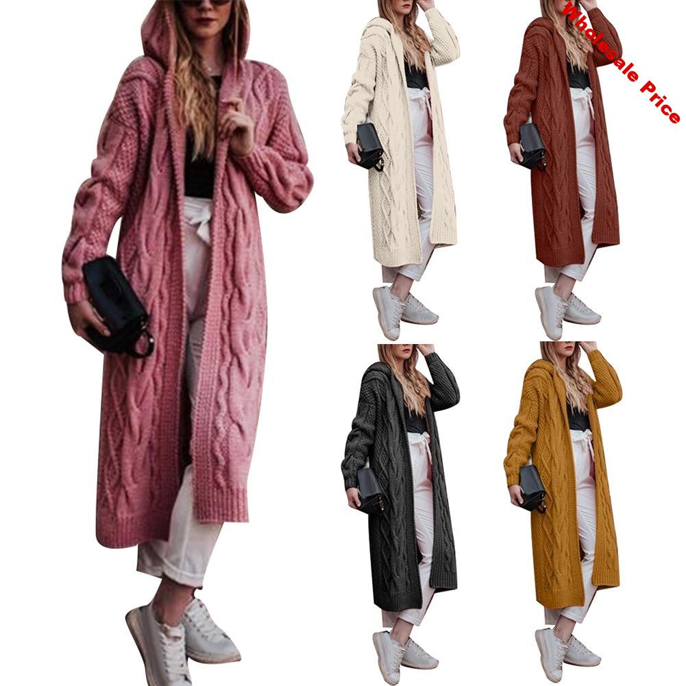 Knit Cardigan Sweater Women Long Sleeve  Cardigan Ladies Autumn Winter Solid Sweater Loose Coat  Plus Size Knitted Long Hooded