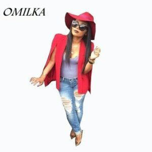 OMILKA Veste Blazer Femme 2017 Women Red Cape Blazer Fashion Long Sleeve Bomber Jacket Women Split Pockets Cape Blazer Workwear
