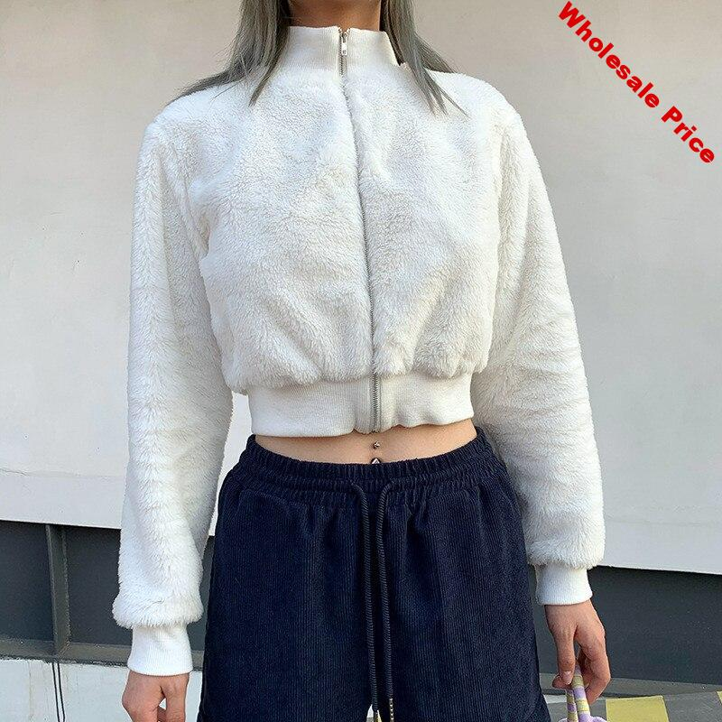 Focal20 Streetwear Solid Color Women Fluzzy Crop Coat Zipper Stand Collar Female Jackets Outers Warm Winter Lady Crop Coats Tops