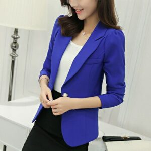 Korean Fashion Women Working Wear Blazer 2020 Spring Summer New  Casual Short Slim Blazers Notched Collar Ladies Blazers Q1384