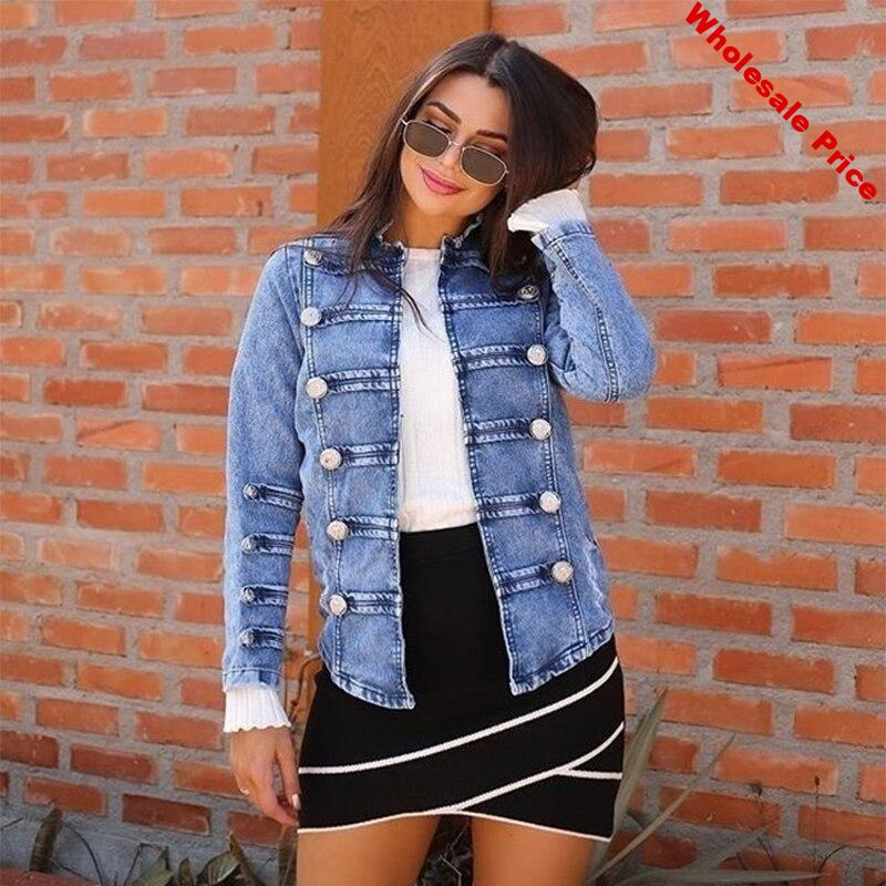 2020 Spring And Summer Explosion Models Denim Jacket Women Nail Buckle Plate With White Coat Female Women Jacket Plus Size 3XL