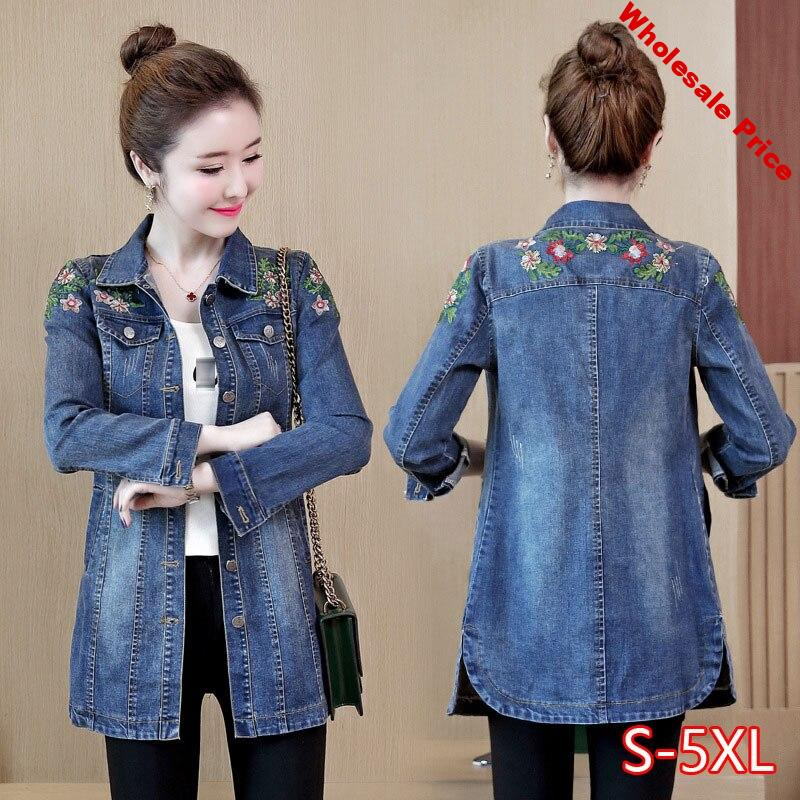 5XL Floral Embroidery Denim Jacket 2020 Spring Autumn New Female Slim Med-long Turn Down Collar Long Sleeve Jeans Coat
