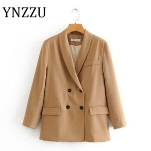 YNZZU 2020 Spring Autumn Elegant Women Blazer Coat Long Sleeve Loose Female Jacket Office Lady Workwear Suits Sets A1474
