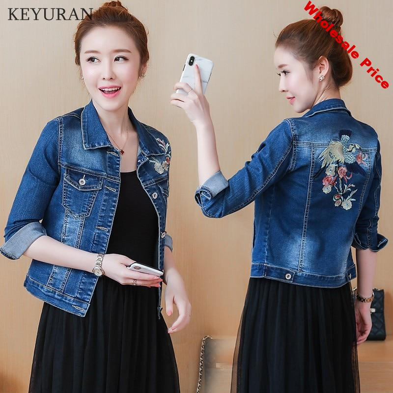 Women Bird Floral Embroidery Denim Jacket Lady Elegant Single Breasted Jeans Coat Autumn Fashion Outwear capa mujer Plus Size