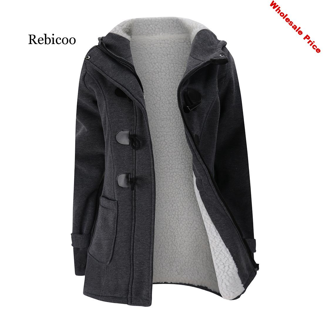 Hooded wool blend classic horn leather buckle buckle jacket jacket cotton plus velvet lamb hair thickening