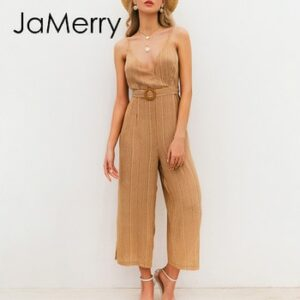 JaMerry Vintage sash belt striped women jumpsuit V neck spaghetti straps female jumpsuit romper Spring summer wide leg overalls
