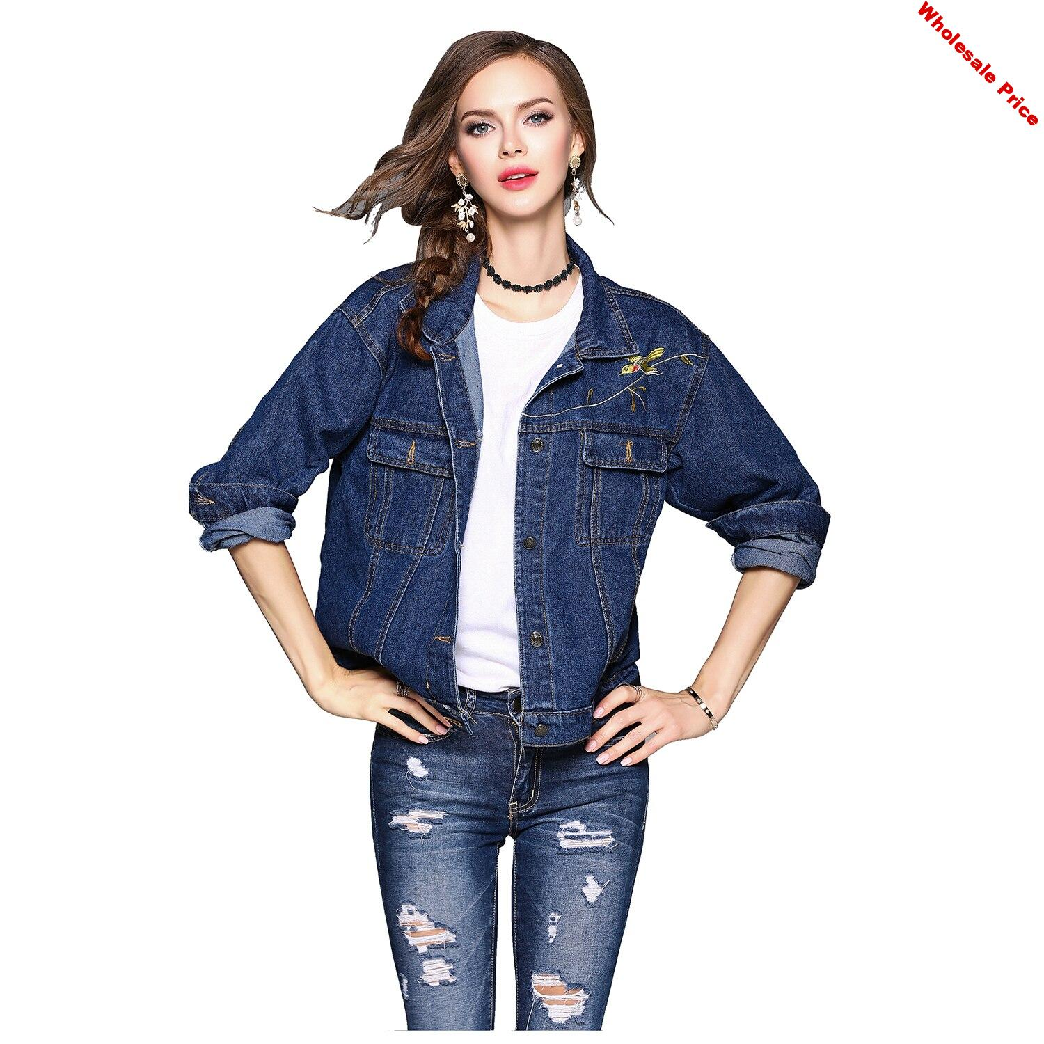 Women's New Fashion Long Sleeve Jacket Spring Autumn Turn-down Collar Floral Embroidery Pocket Single Breasted Casual Outwear