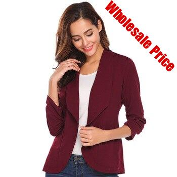 Women Blazers Three Quarter 7-point sleeves pleated women blazer and jacket solid color Office Lady Slim Suit small suit coat