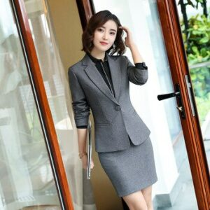 female elegant Women's Pants Suit trouser dress Blazer jacket Suits ladies office wear uniforms suits set 2 pieces Gray vest