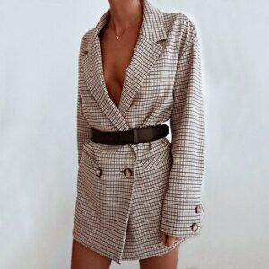 Sale Long Sleeve Autumn Winter Office Lady Plaid Blazer Women Dress Oversized Casual Elegant Sexy Lapel Button Waist Plaid Suit