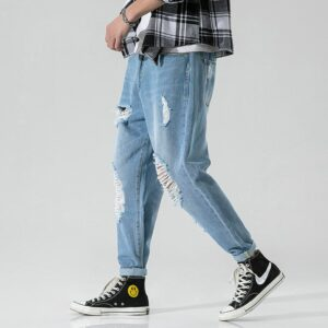 #1416 Summer 2020 Ripped Jeans For Men Plus Size 38 Casual Pencil Harem Denim Jeans Streetwear Hip Hop Jeans Men With Holes