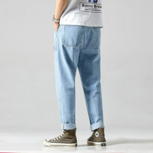 #1418 Summer 2020 Casual Denim Jeans Men Loose Wide Leg Jeans Loose Streetwear Jeans For Man Blue Fashions Jogger Jeans Homme