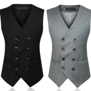 Double Breasted Dress Vests For Men Slim Fit Mens Suit Vest Male Waistcoat Gilet Homme Formal Business Sleeveless Jacket 5XL 6XL