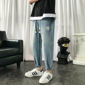 Print Vintage Harem Pants Men's Jeans 2020 Spring Fashion Jeans Pants Man Casual Denim Harem Pants Bottoms Clothes