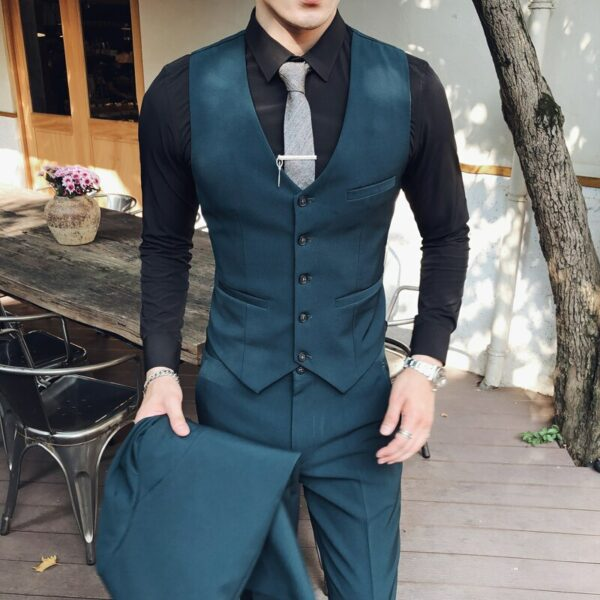( 1Pcs ) Fashion Boutique Solid Color Mens Official Business Slim Suit Vest  Men Casual Sleeveless Suit Vest Groom Wedding Dress