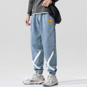 #1421 Black Blue Denim Jeans Men Elastic Waist Jeans Jogger Loose Elastic Waist Streetwear Jeans For Men Wide Leg Jeans Homme