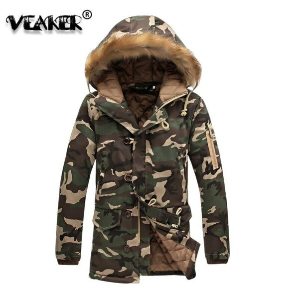 Winter Mens Thick Fur Parka Jacket Fleece Cotton-Padded Parka Camouflage Army Green Hooded Coats Horns buckle Jackets Plus 5XL