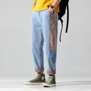 #1405 Spring Summer Jogger Jeans Mens Side Spliced Pencil Harem Jeans Men Loose Streetwear Hip Hop Jeans Light Blue Denim Jeans
